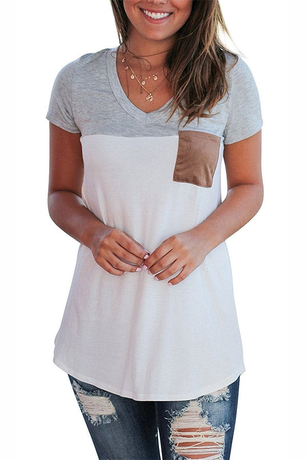 Mixed Color Pocket V Neck Top