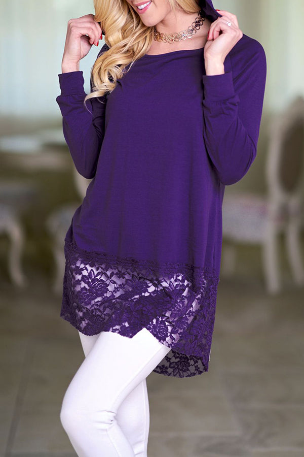 Lace Hooded Neck Solid Color Long Sleeve Blouse