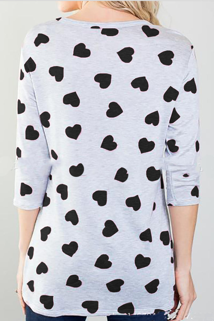 Heart-shaped Printed Irregular Hem Half Sleeve  Casual Top