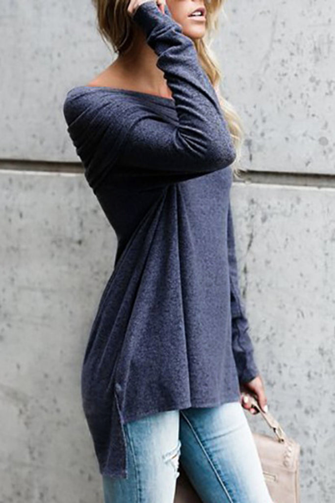 Off the Shoulder Long Sleeve Solid Color Casual Top
