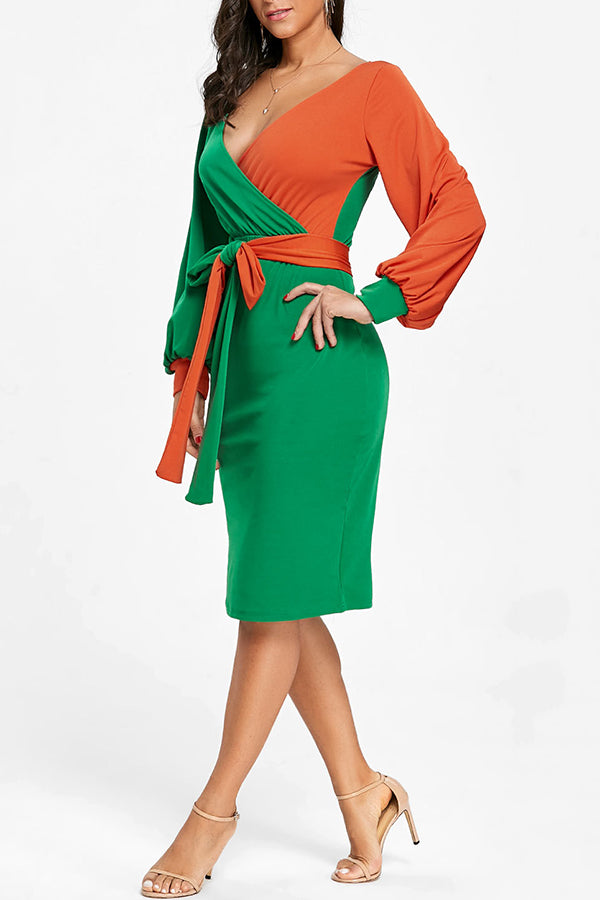 V-Neck Splice Color Puff Sleeve Belted Midi Dress