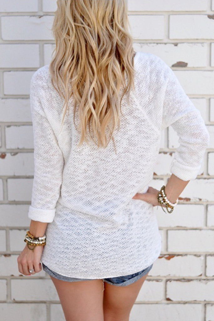 Solid Color Long Sleeve Casual Top