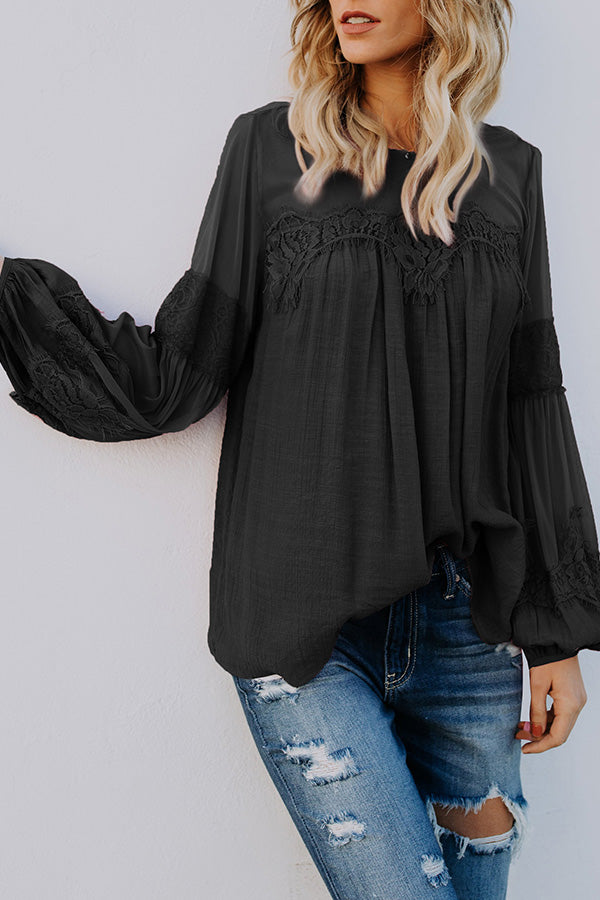 Lace Net Yarn Puff Sleeve Contracted Style Blouse