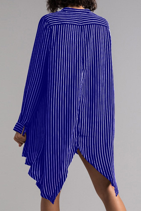 Long Sleeve Stripe Irregular Hem Shirt Dress