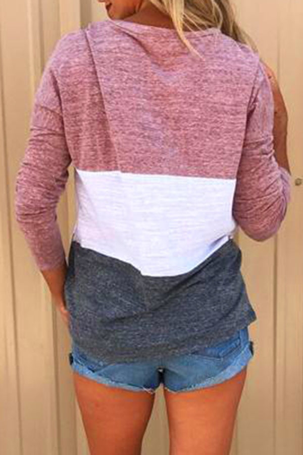 Mixed Color Long Sleeve Casual Top