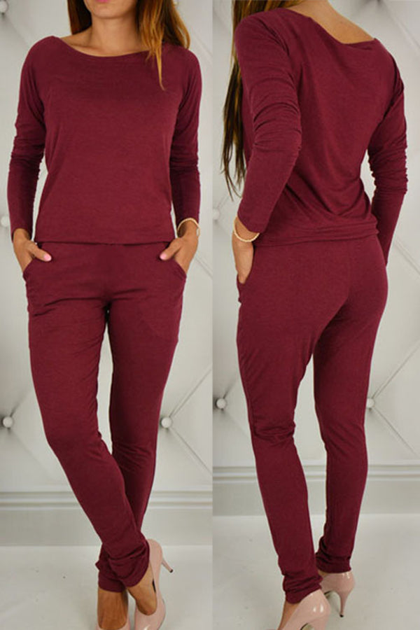 Off the Shoulder Solid Color Pocket Jumpsuit