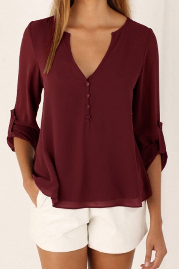 V-neck Long Sleeve Button Chiffon Solid Color  Top