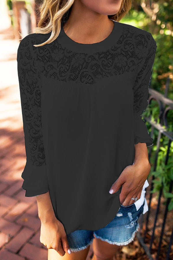 Lace Trumpet Sleeve Solid Color Chiffon Top