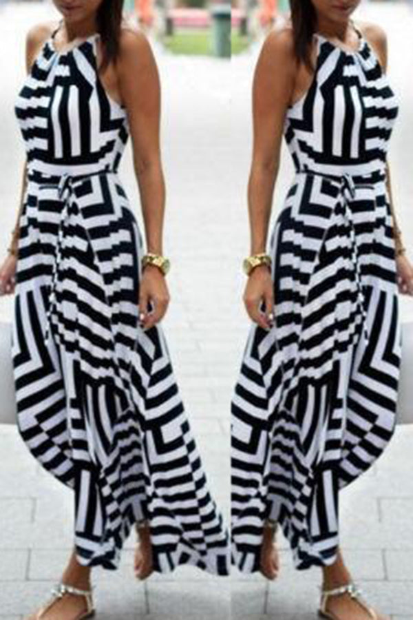 Geometry Printed Halterneck High Waist Sleeveless Maxi Dress