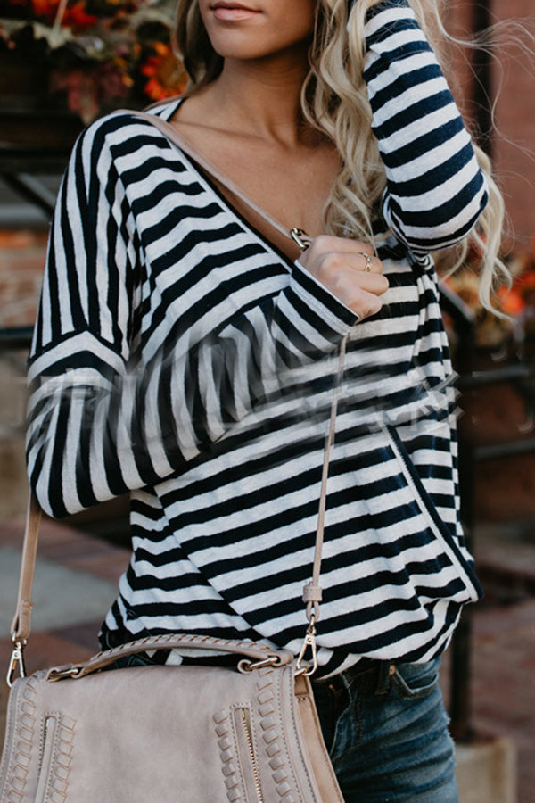 Stripe V-neck Long Sleeve Casual Top