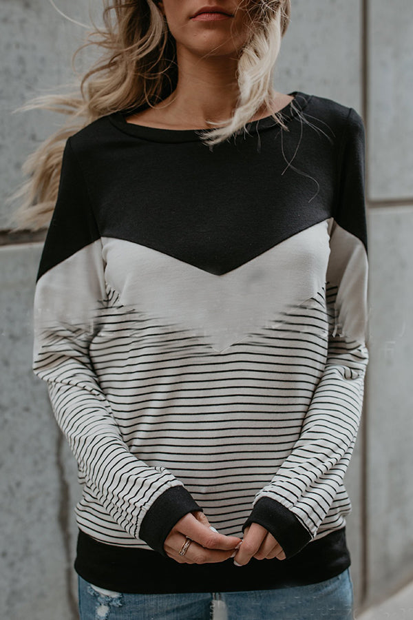 Mixed Color Stripe Long Sleeve Casual Top