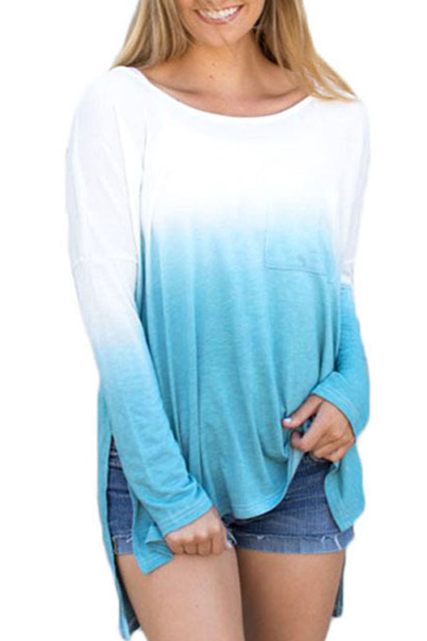 Irregular Mixed Color Long Sleeve Casual Top