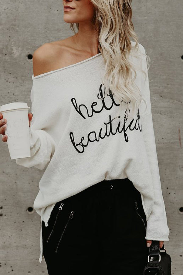 Letter Printed Off the Shoulder Long Sleeve Casual Top