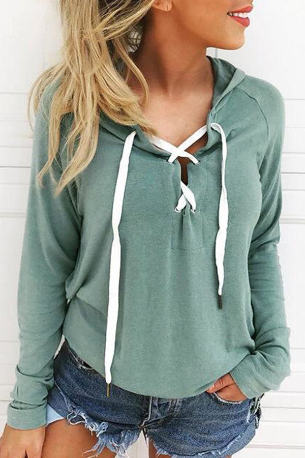 Hooded Bandage Solid Color Casual Top