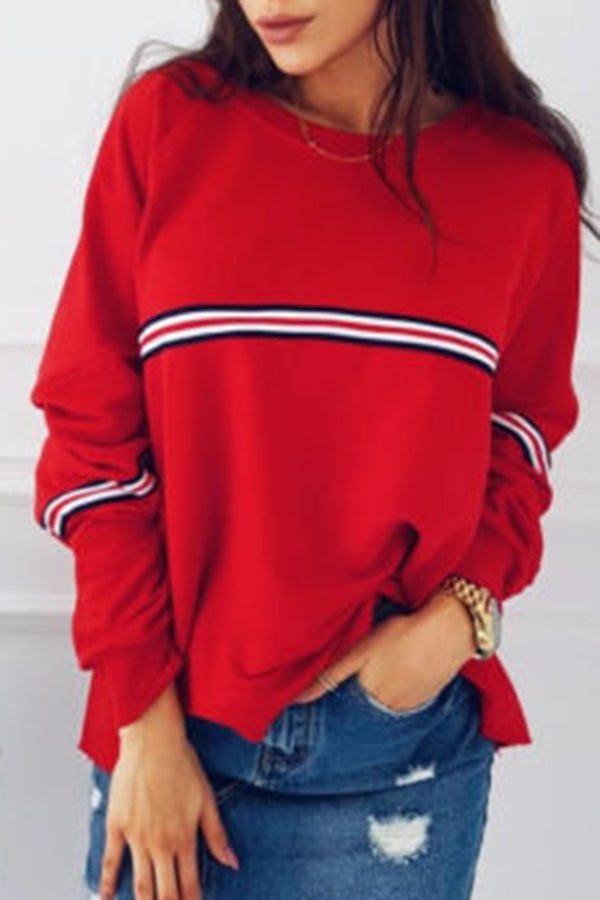 Stripe Long Sleeve Solid Color Casual Top