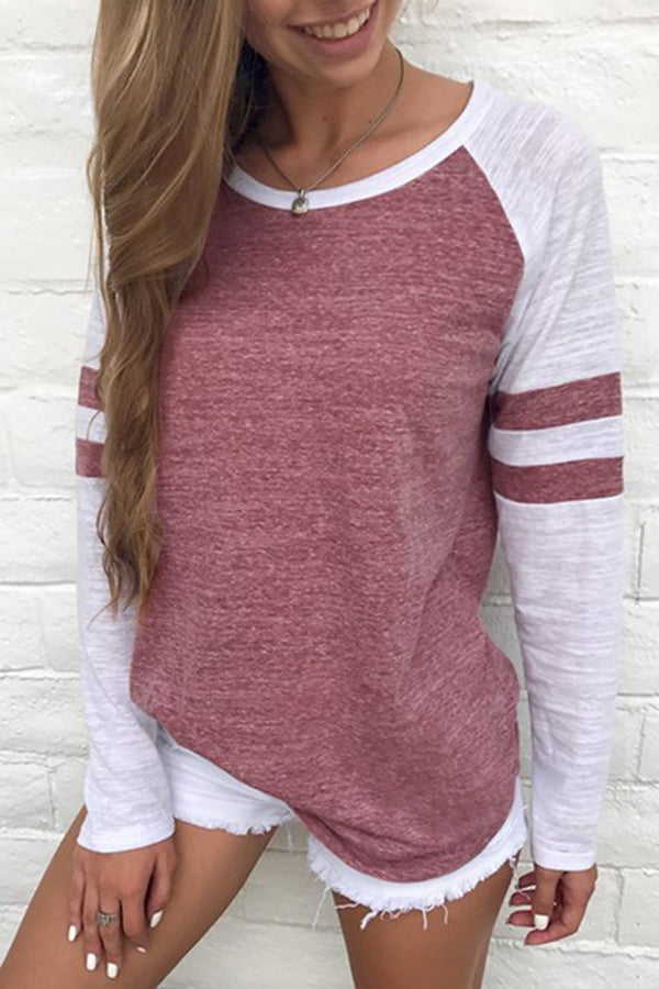 Stripe Mixed Color Long Sleeve Casual Top