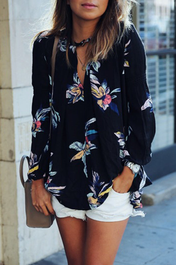 Halter Flower Printed Puff Sleeve Casual Top