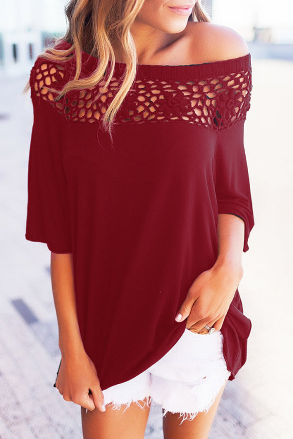 Lace Half Sleeve Off the Shoulder Solid Color Casual Top