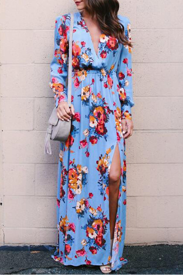 V-neck High Waist Flower Printed Casual Dress