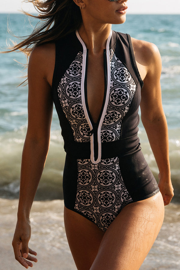 Flower Printed Zipper One Piece Swimwear