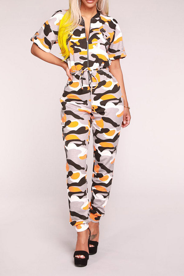 Camouflage Printed Short Sleeve Zipper Jumpsuit