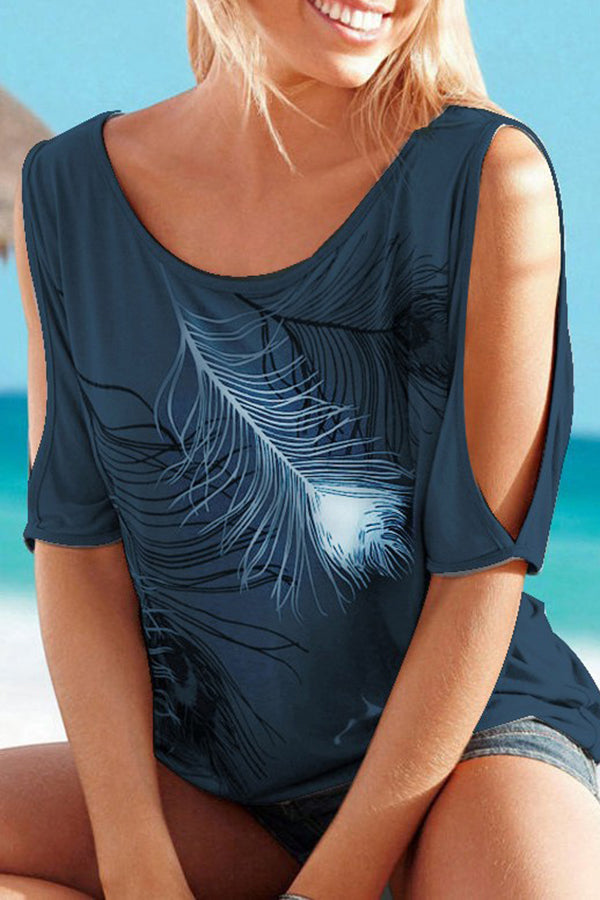 Off the Shoulder Half Sleeve Feather Printed Casual Top