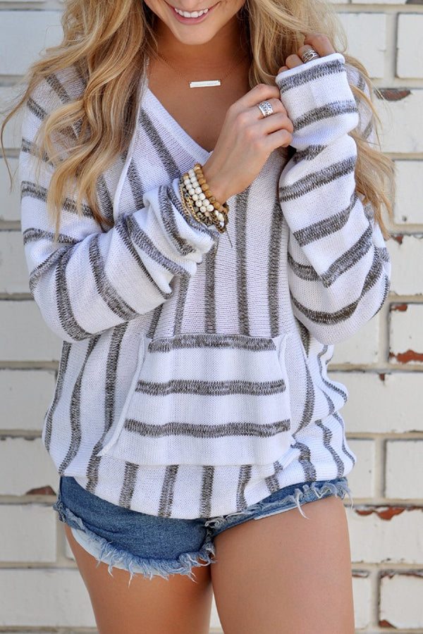Hooded Stripe Mixed Color Pocket Long Sleeve Top