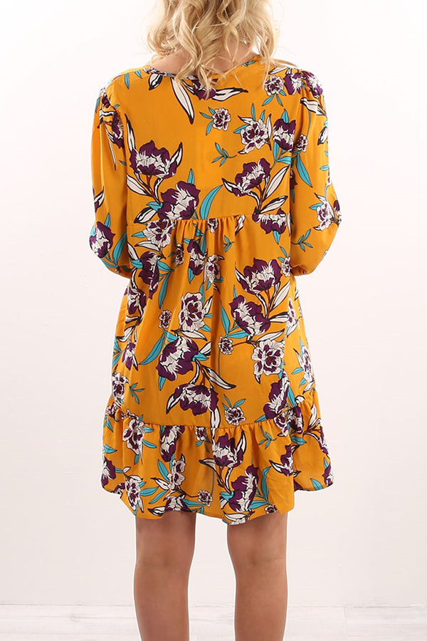 V-neck Puff Sleeve Flower Printed Dress