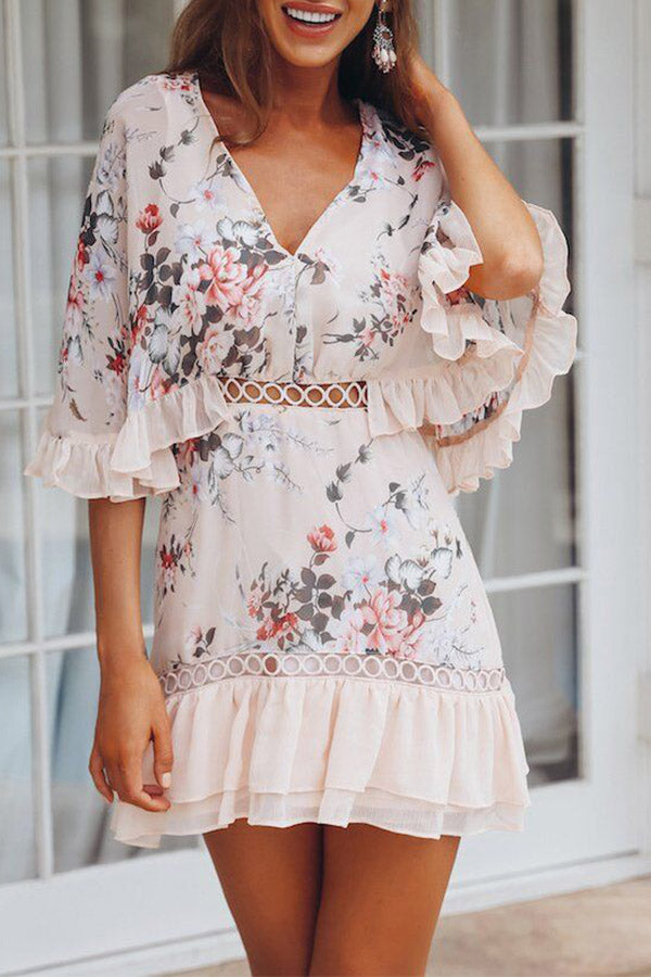Printed V Neck Ruffle Dress