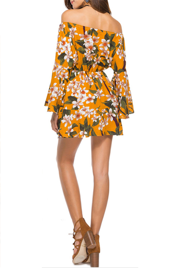 Off The Shoulder Floral Printed Belted Dress