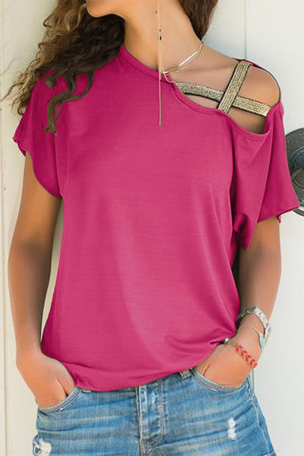 Criss Cross Straps Round Neck Short Sleeve Shirt