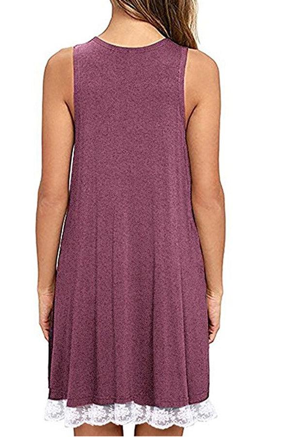 Solid Color Sleeveless Lace Dress