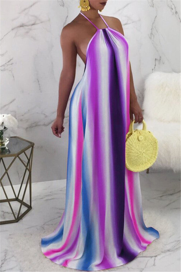 Rainbow Stripe Halter Neck Maxi Dress