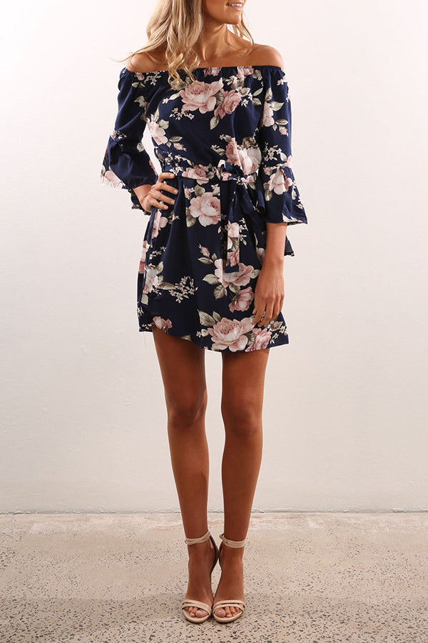 Flower Printed Long Sleeve Off the Shoulder High Waist Dress