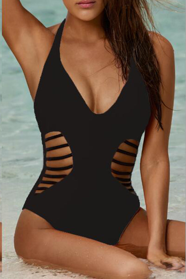 Solid Color Pierced One Piece Swimwear