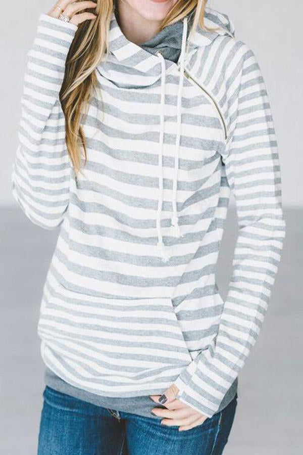 Hooded Collar Stripe Print Long Sleeve Hoodie
