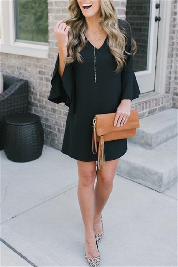 V Neck Flare Sleeves Flounce Mini Dress