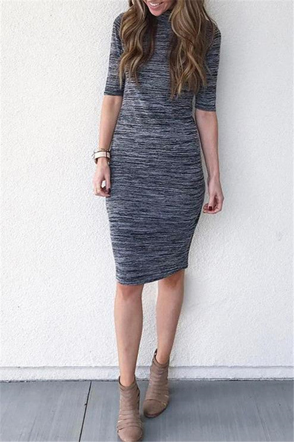 Half Sleeve Slim Bodycon Dress