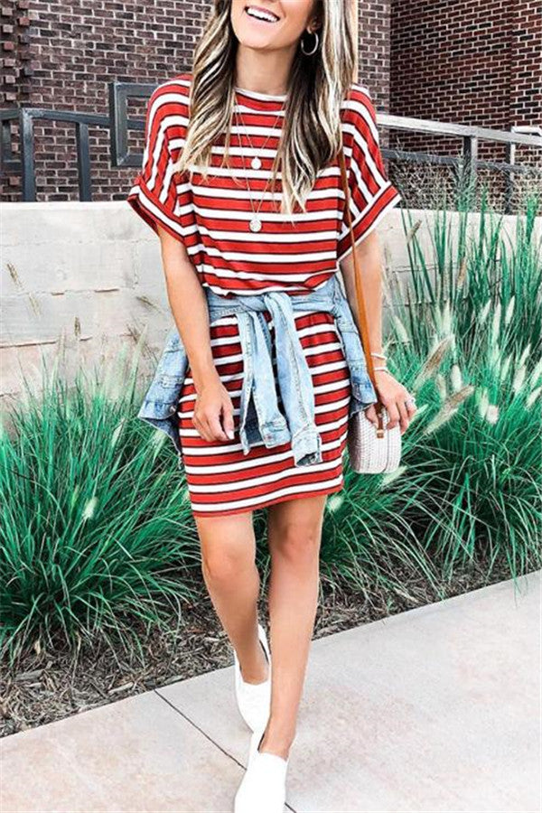 Casual Striped Short Sleeve Mini Dress