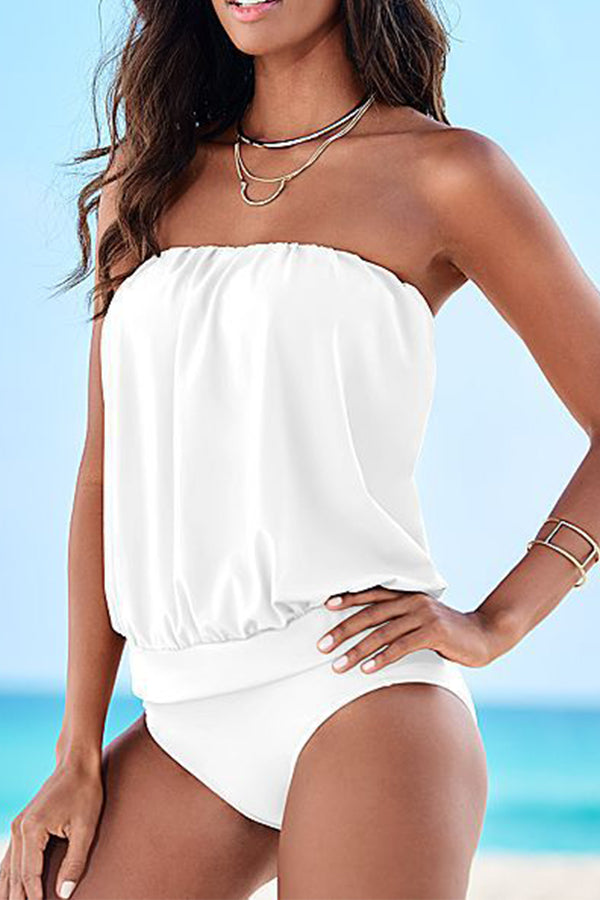 Solid Color Off The Shoulder One Piece Swimwear