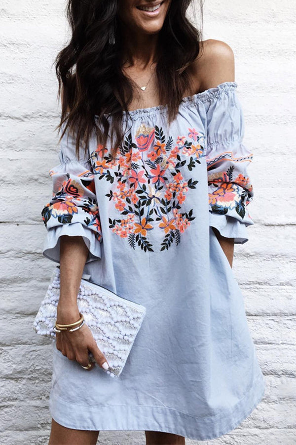 Off the Shoulder Flower Printed Casual Dress