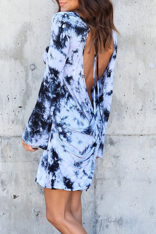 Backless Mixed Color Casual Dress