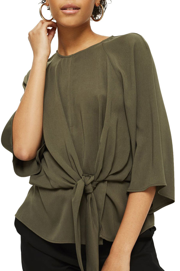 Solid Color Batwing Sleeve Blouse