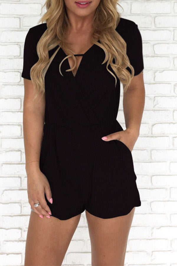 Solid Color Short Sleeve V Neck Pocket Romper