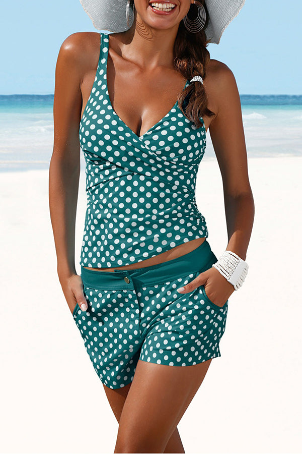 Wave Printed Pocket Tankini Swimwear