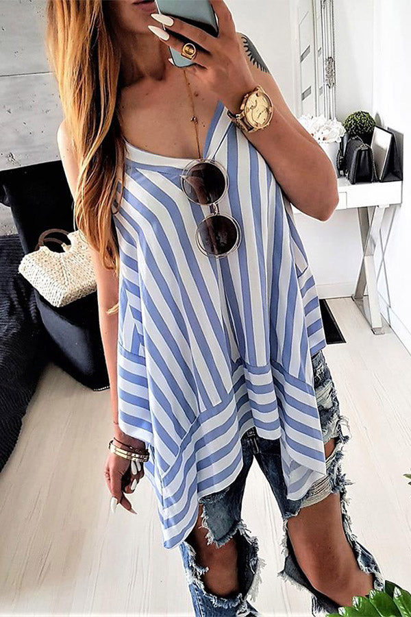 Chiffon Stripe Irregular Hem Sleeveless V-Neck Casual Shirt