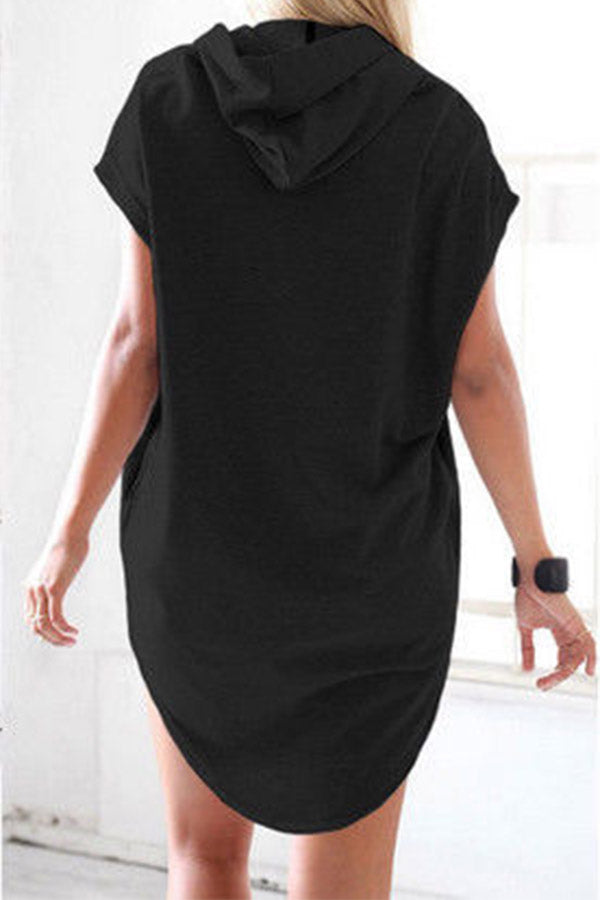 Solid Color Short Sleeve Hooded Dress