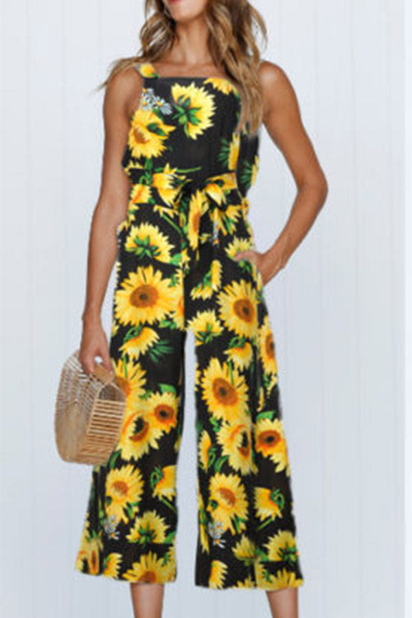 Sleeveless Printed Belted Pocket Jumpsuit