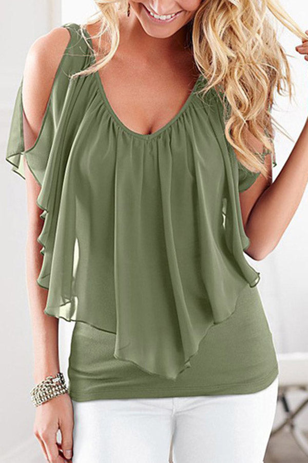 Plus Size Faux Two Pieces Solid Color Casual Chiffon Blouse