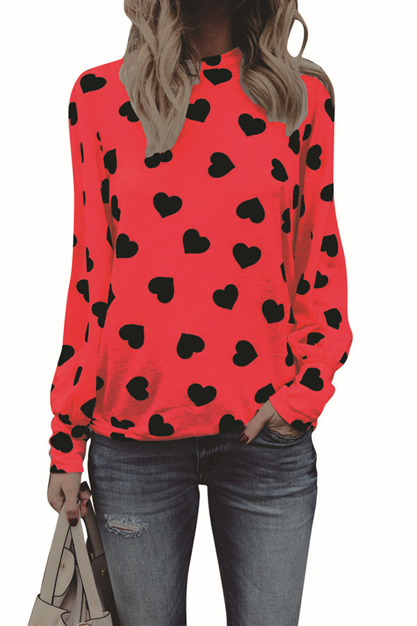 Heart-shaped Printed Long Sleeve Top